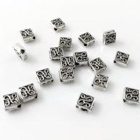 60 Tibetan Silver 6mm Spacer Beads